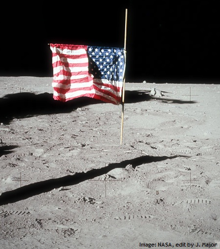 American flag at half staff for Neil Armstrong