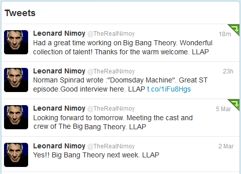 Leonard Nimoy Twitter