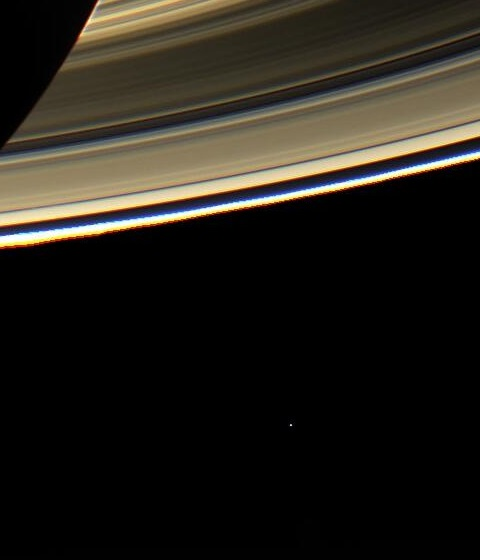 Saturn Rings with Earth in Background